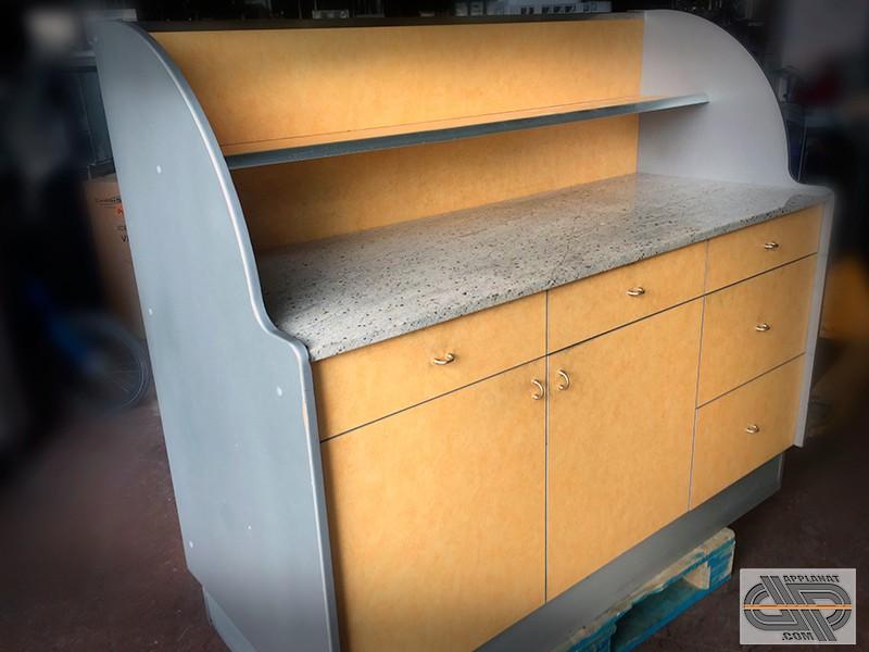 Desserte vaisselier de restaurant • 1m65 • Finitions alu et granit •  Mobilier CHR occasion - nous consulter 911ab5379627