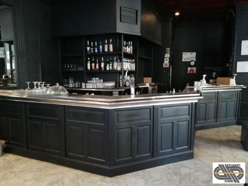 Comptoir Bar Brasserie 5m X 4m40 Refrigere A Zinc Inox En Zigzag Occasion Vendu