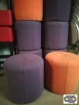 Lot 10 poufs vintage ronds oranges et mauves (60's - 70's)