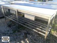 aade4587326b6 Table de travail inox avec étagère basse et tiroirs