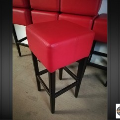 Lot 8 tabourets de bar en simili cuir rouge