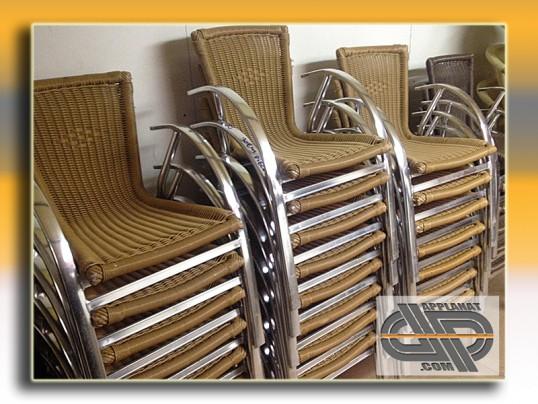 fauteuils bistrot alu et r sine tress e x22 occasion vendu. Black Bedroom Furniture Sets. Home Design Ideas