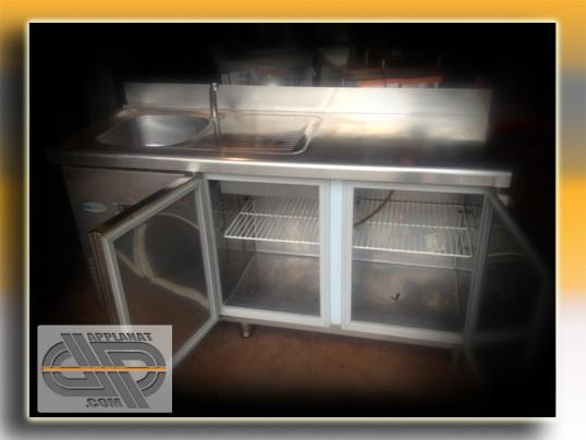 Sous comptoir r frig r avec vier 1 5 m tres occasion vendu - Comptoir refrigere occasion ...