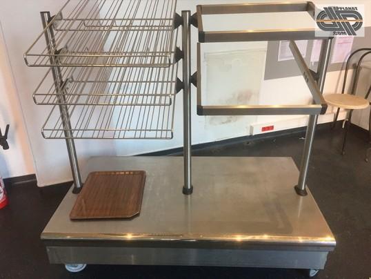 meuble inox cafeteria pour plateaux verres couverts et pains occasion vendu. Black Bedroom Furniture Sets. Home Design Ideas