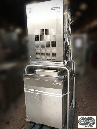 Ensemble production glace pilée super grains SCOTSMAN sur stand a chariot stockage en inox