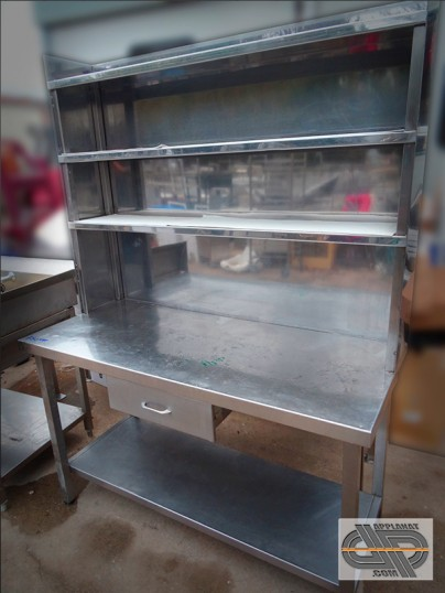 table inox avec fonctionnel mural 1m40 x 60 cm occasion nous consulter. Black Bedroom Furniture Sets. Home Design Ideas