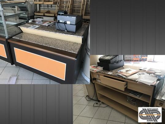 Ensemble 6m70 vitrines meuble caisse boutique boulangerie p tisserie sandwichs occasion 9 - Meuble de caisse pour boutique ...