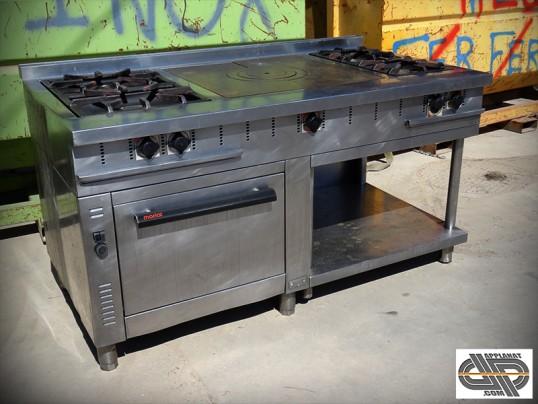 Fourneau cuisine professionnelle 1m60 plaque coup de feu four gn2 1 occasion vendu - Cuisine professionnelle occasion ...