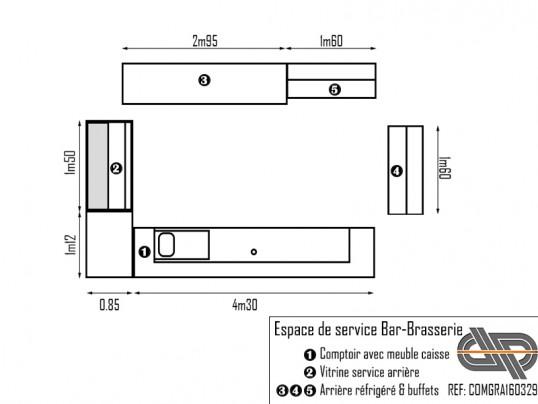 Ensemble comptoir bar 5m15 + vitrine + arrière + buffets assortis ... 3da84a4aa247