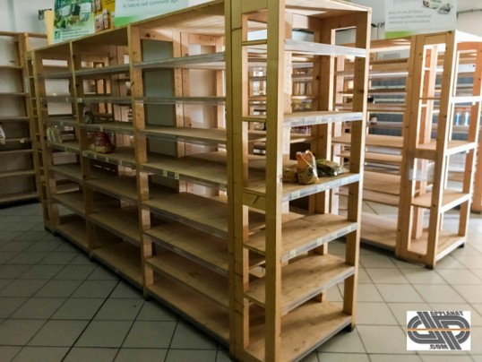 Rayonnage bois magasin bio occasion ilot 360 x 80 cm