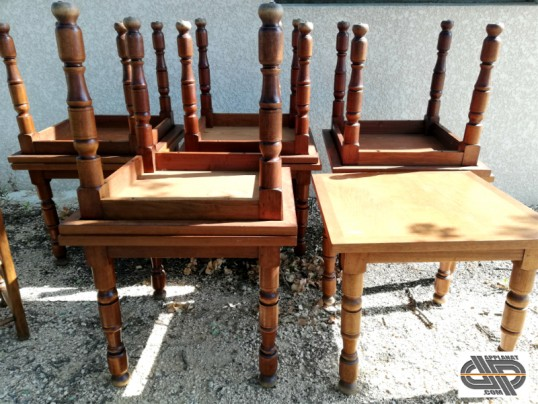 Lot 10 tables carrees bois massif chr occasion pro
