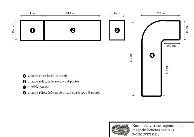 Plan de l'ensemble magasin magasin boucher charcutier traiteur – CRIOCABIN gamme EMOTION vendu d'occasion chez Applanat avec rénovation incluse
