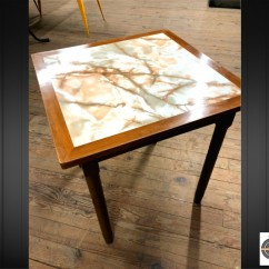 Lot 6 tables brasserie dessus imitation marbre